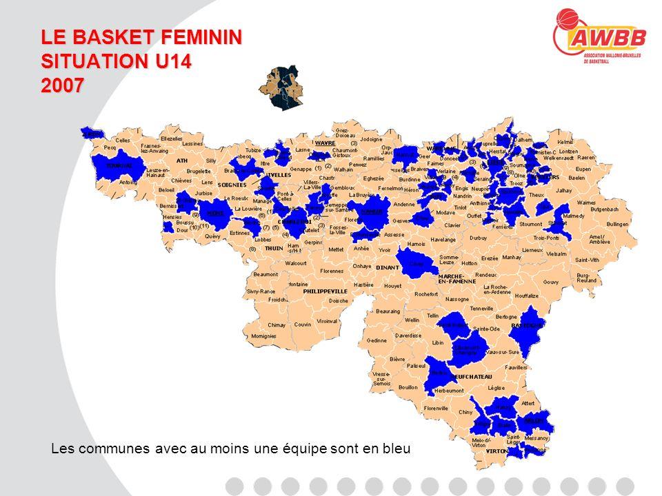 LE BASKET FEMININ SITUATION U14 2007 Les communes avec au moins une équipe sont en bleu