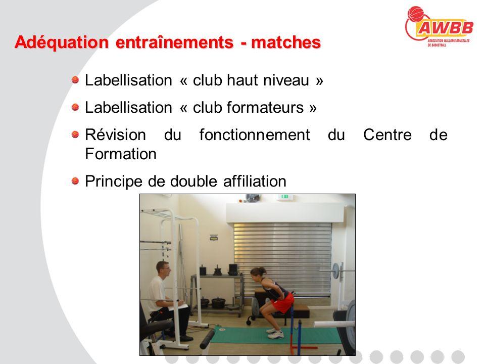 Adéquation entraînements - matches Labellisation « club haut niveau » Labellisation « club formateurs » Révision du fonctionnement du Centre de Format