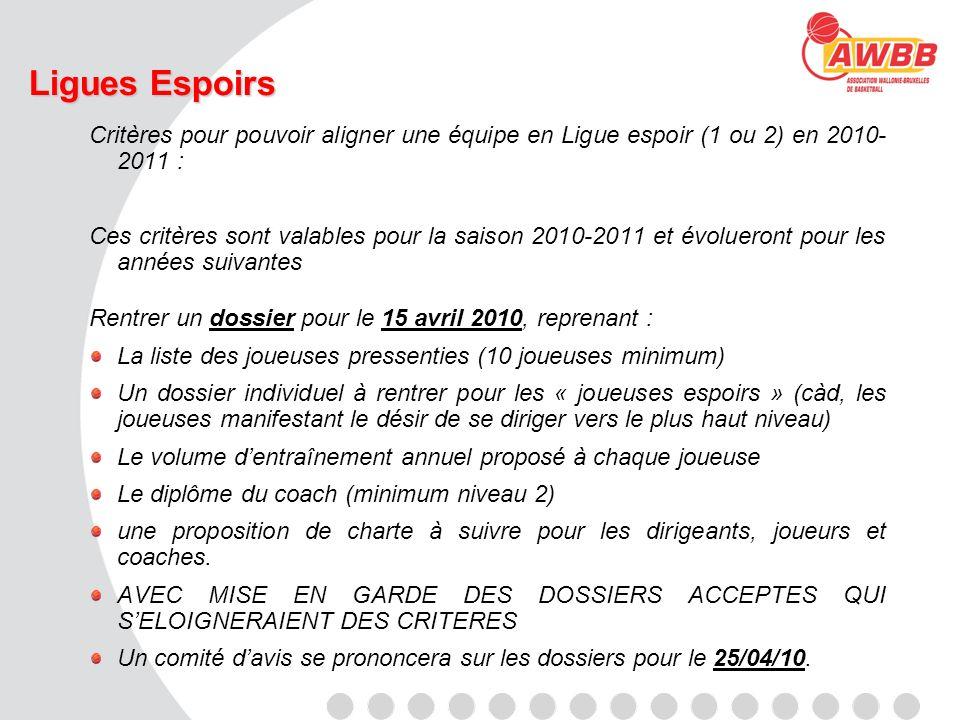 Ligues Espoirs Critères pour pouvoir aligner une équipe en Ligue espoir (1 ou 2) en 2010- 2011 : Ces critères sont valables pour la saison 2010-2011 e