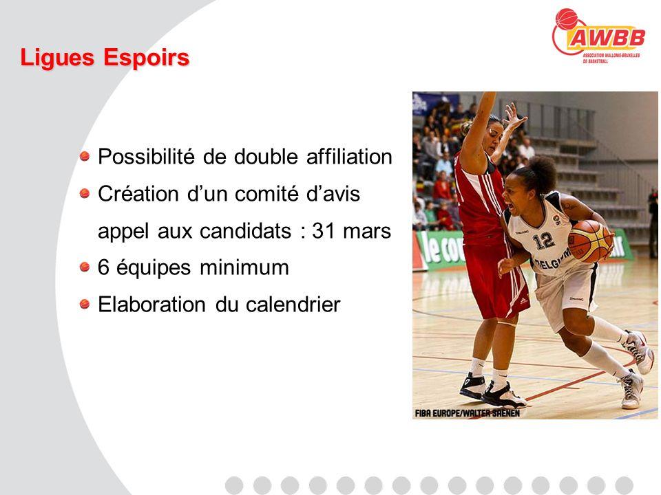 Ligues Espoirs Possibilité de double affiliation Création dun comité davis appel aux candidats : 31 mars 6 équipes minimum Elaboration du calendrier
