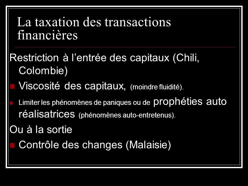 La taxation des transactions financières Restriction à lentrée des capitaux (Chili, Colombie) Viscosité des capitaux, (moindre fluidité). Limiter les