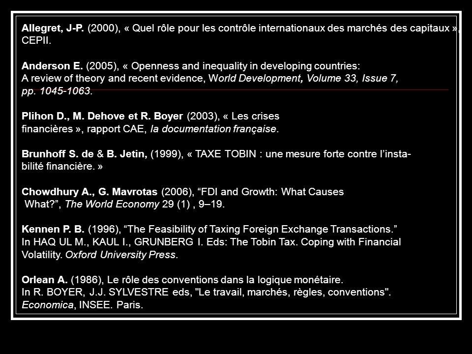 Allegret, J-P. (2000), « Quel rôle pour les contrôle internationaux des marchés des capitaux », CEPII. Anderson E. (2005), « Openness and inequality i