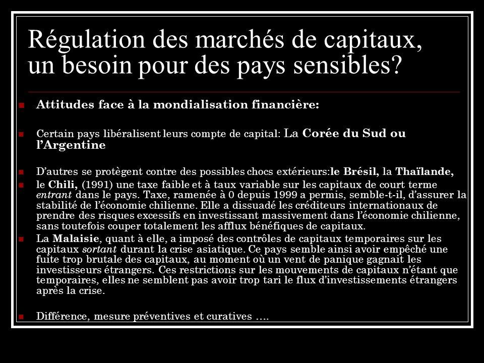Régulation des marchés de capitaux, un besoin pour des pays sensibles? Attitudes face à la mondialisation financière: Certain pays libéralisent leurs