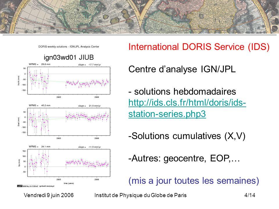 Vendredi 9 juin 2006Institut de Physique du Globe de Paris4/14 International DORIS Service (IDS) Centre danalyse IGN/JPL - solutions hebdomadaires http://ids.cls.fr/html/doris/ids- station-series.php3 http://ids.cls.fr/html/doris/ids- station-series.php3 -Solutions cumulatives (X,V) -Autres: geocentre, EOP,… (mis a jour toutes les semaines)