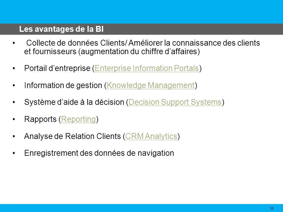 Les avantages de la BI 16 Collecte de données Clients/ Améliorer la connaissance des clients et fournisseurs (augmentation du chiffre daffaires) Porta