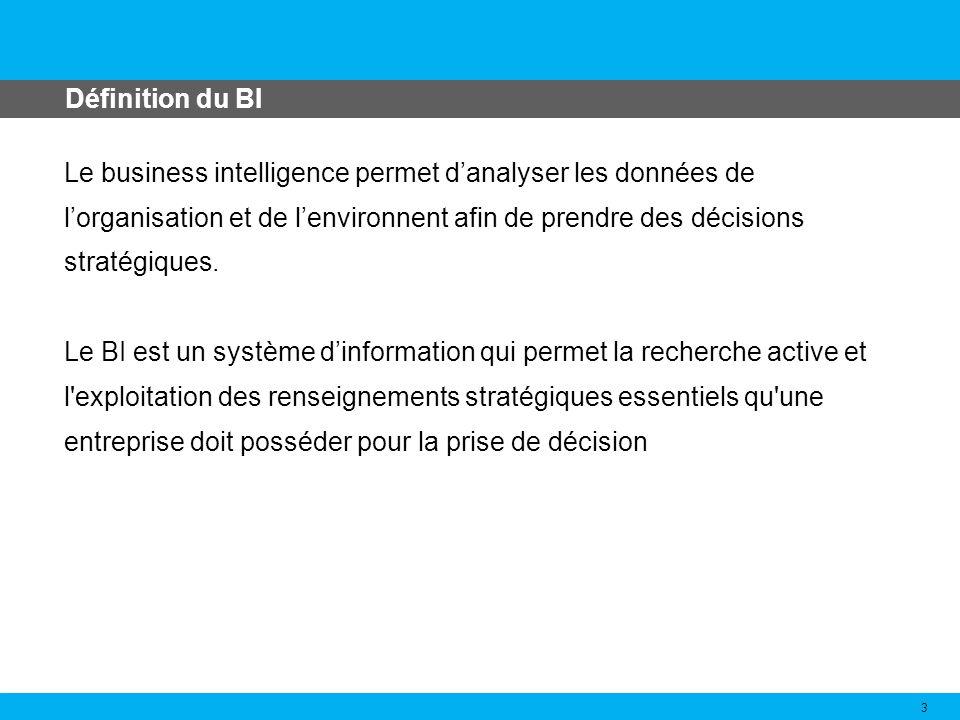 Le business intelligence permet danalyser les données de lorganisation et de lenvironnent afin de prendre des décisions stratégiques. Le BI est un sys