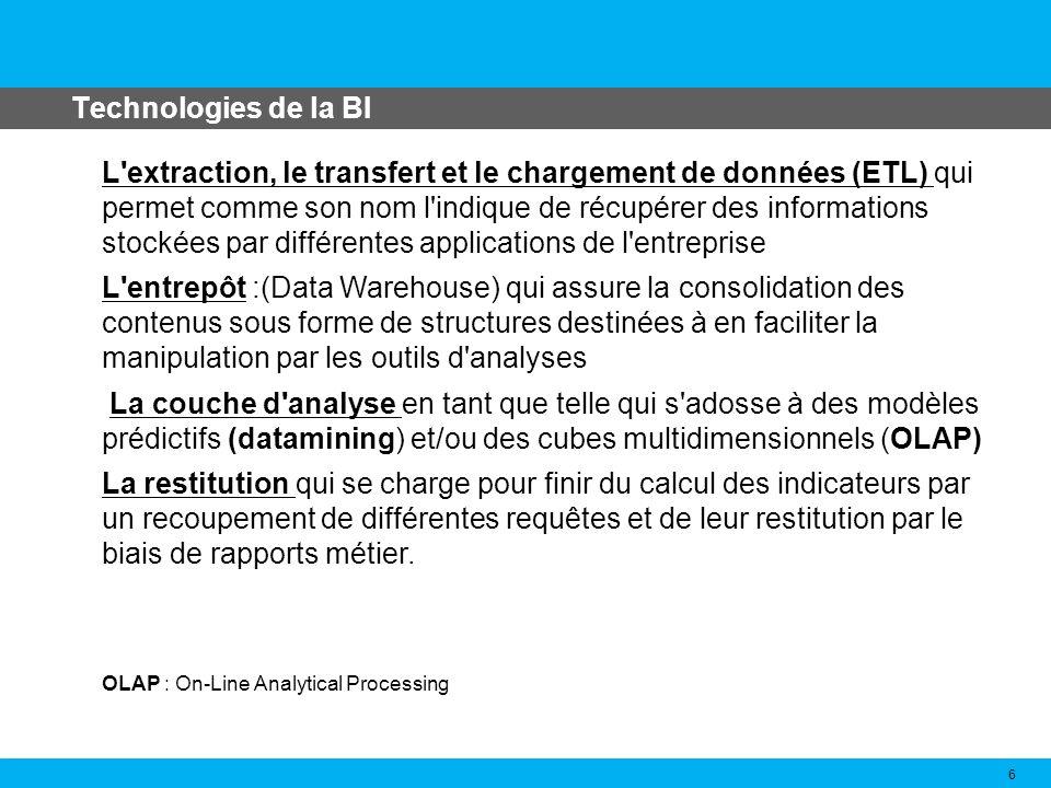 Technologies de la BI 6 L'extraction, le transfert et le chargement de données (ETL) qui permet comme son nom l'indique de récupérer des informations