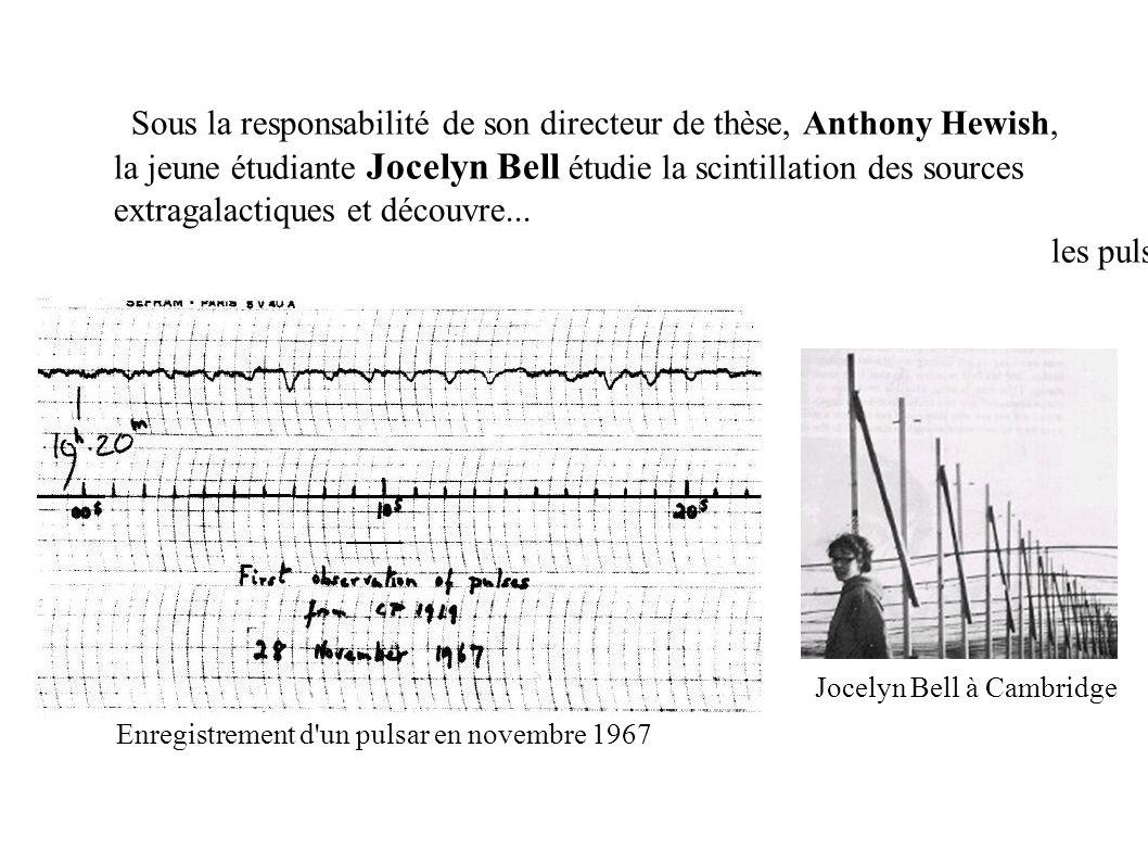 Enregistrement d'un pulsar en novembre 1967 Jocelyn Bell à Cambridge Sous la responsabilité de son directeur de thèse, Anthony Hewish, la jeune étudia