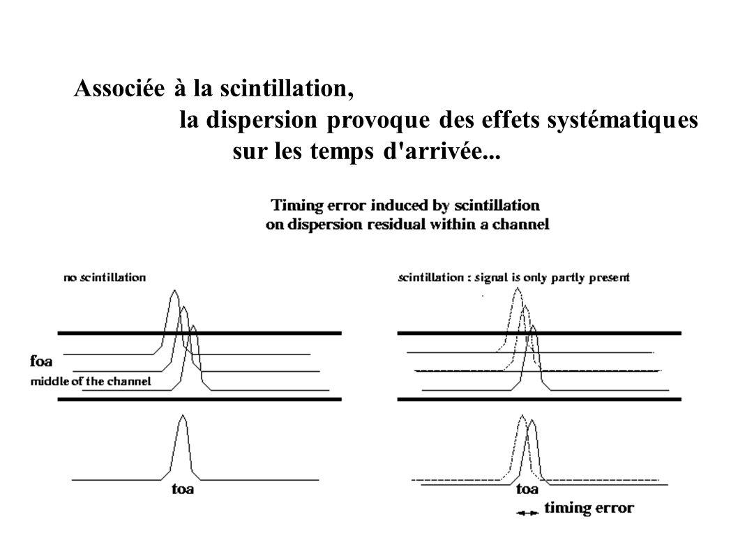 Associée à la scintillation, la dispersion provoque des effets systématiques sur les temps d'arrivée...
