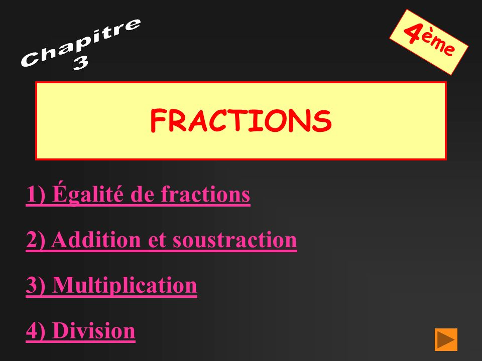 FRACTIONS 1) Égalité de fractions 2) Addition et soustraction 3) Multiplication 4) Division 4 ème