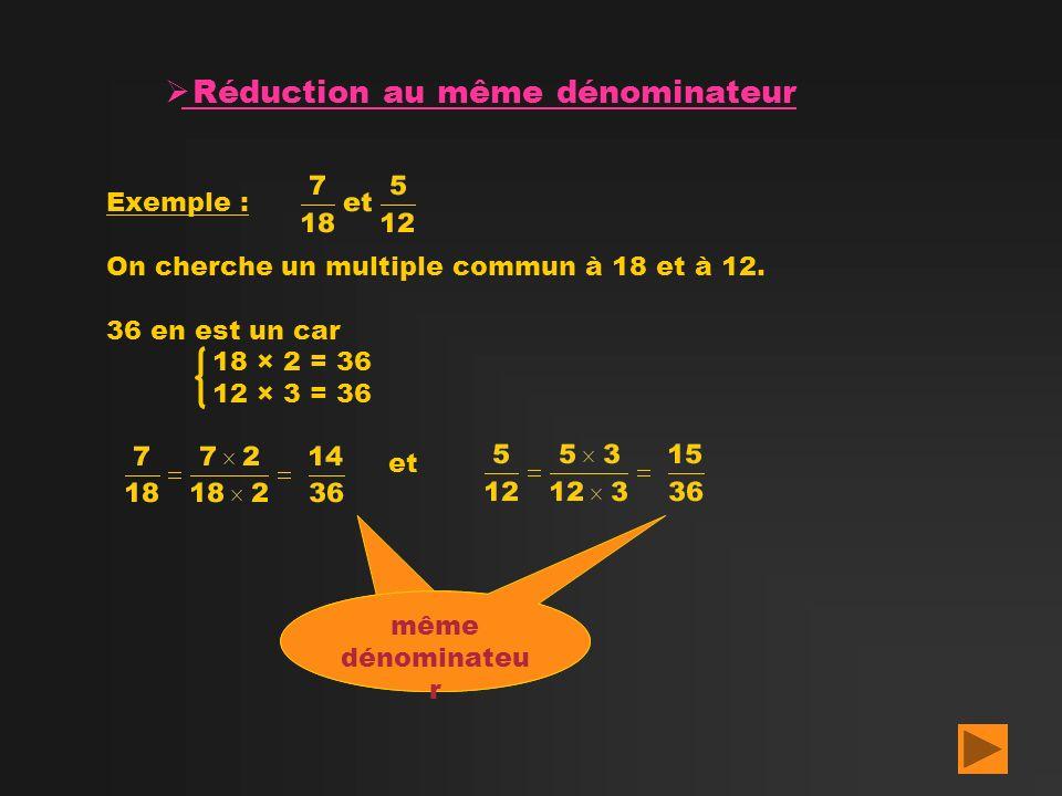 Réduction au même dénominateur Exemple : On cherche un multiple commun à 18 et à 12. 36 en est un car 18 × 2 = 36 12 × 3 = 36 et même dénominateu r