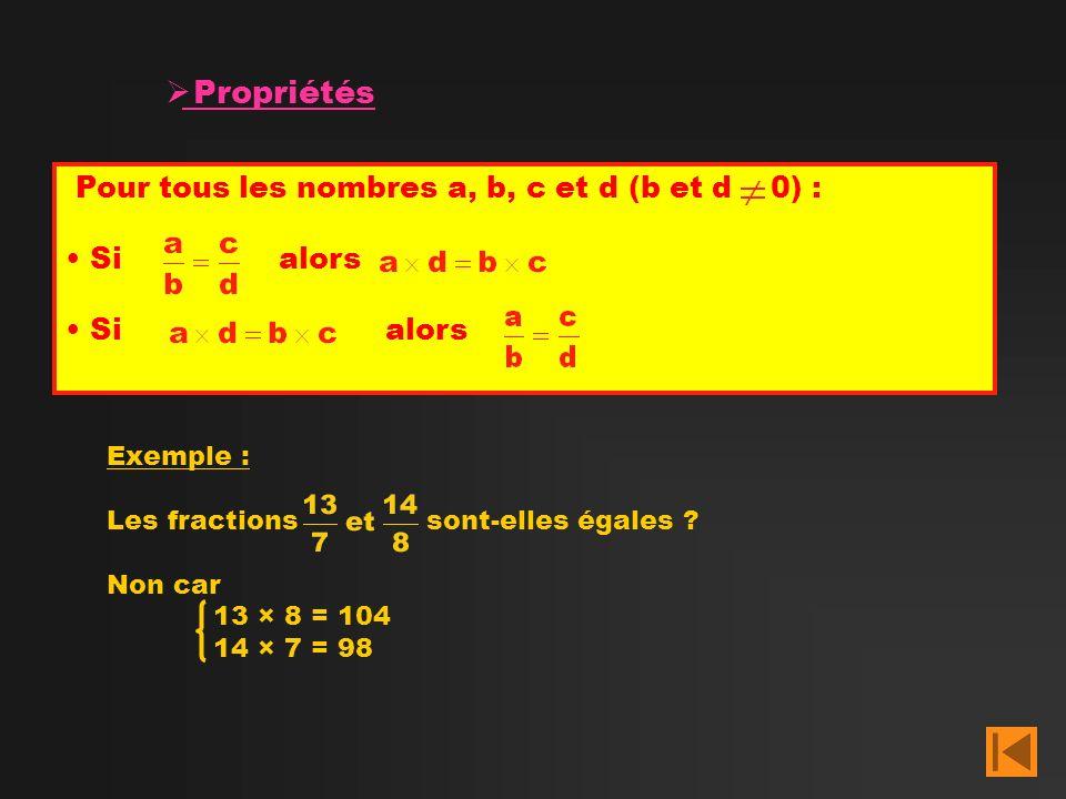 Exemple : Les fractions sont-elles égales ? Non car 13 × 8 = 104 14 × 7 = 98 Propriétés Pour tous les nombres a, b, c et d (b et d 0) : Sialors Sialor