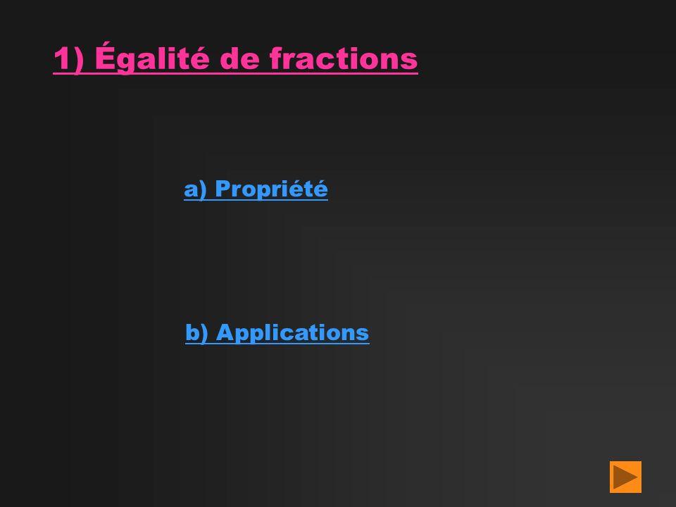 1) Égalité de fractions a) Propriété b) Applications