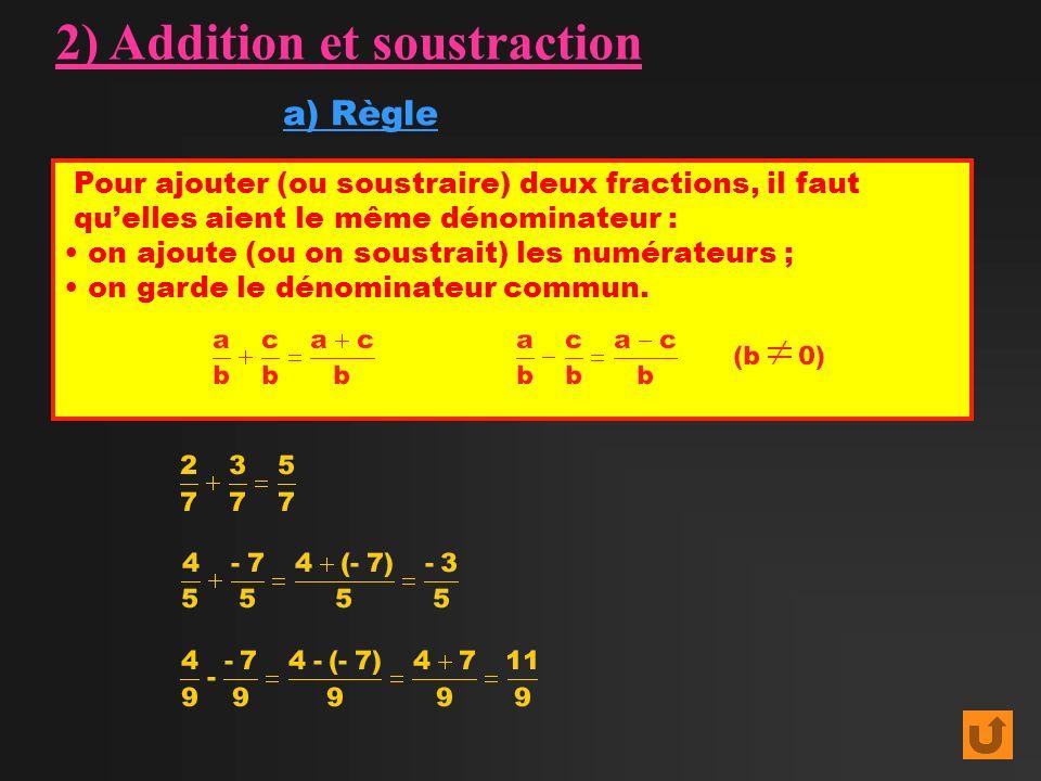 Pour ajouter (ou soustraire) deux fractions, il faut quelles aient le même dénominateur : on ajoute (ou on soustrait) les numérateurs ; on garde le dé