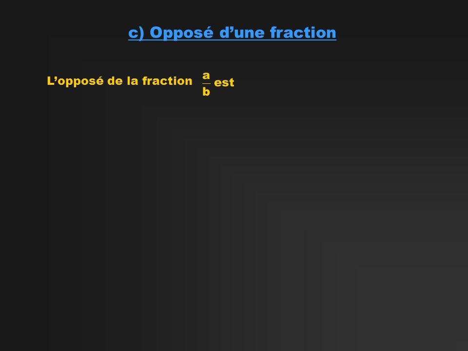 c) Opposé dune fraction Lopposé de la fraction