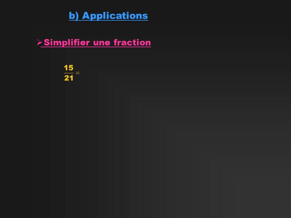 b) Applications Simplifier une fraction