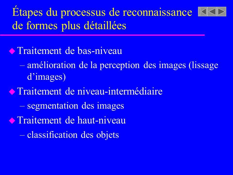 u Traitement de bas-niveau –amélioration de la perception des images (lissage dimages) u Traitement de niveau-intermédiaire –segmentation des images u Traitement de haut-niveau –classification des objets