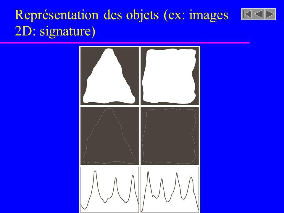 Représentation des objets (ex: images 2D: signature)