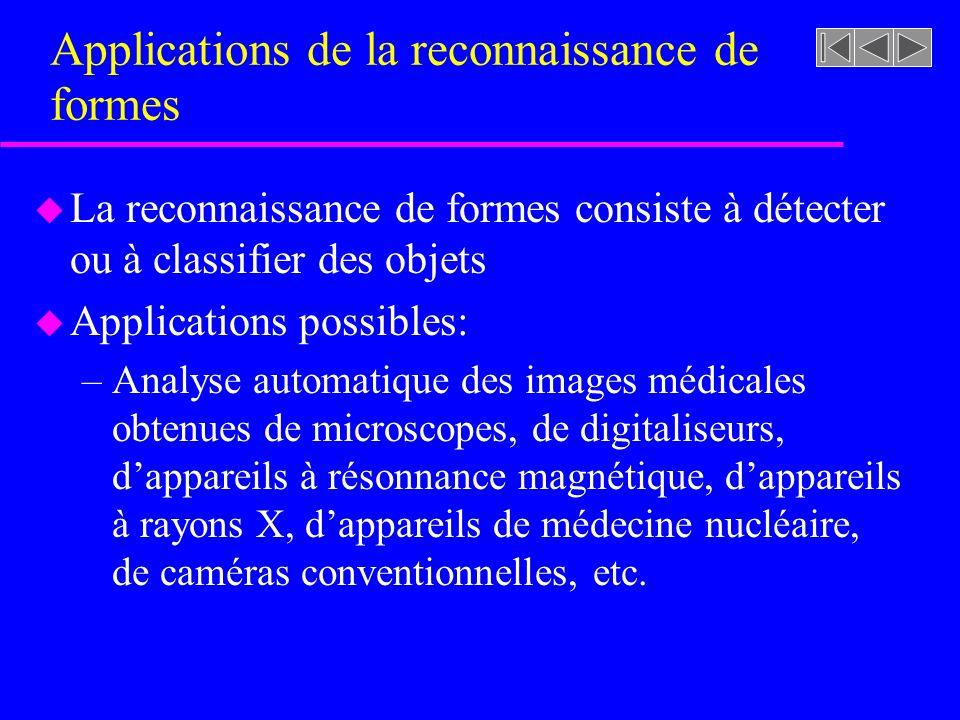 Représentation des objets (ex: images 2D) u Exemples de caractéristiques extraites dune image 2D –Contours –Signature –Descripteurs de Fourier –Moments statistiques –Textures –Moments invariants
