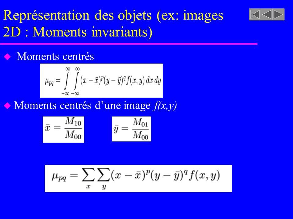 Représentation des objets (ex: images 2D : Moments invariants) u Moments centrés u Moments centrés dune image f(x,y)