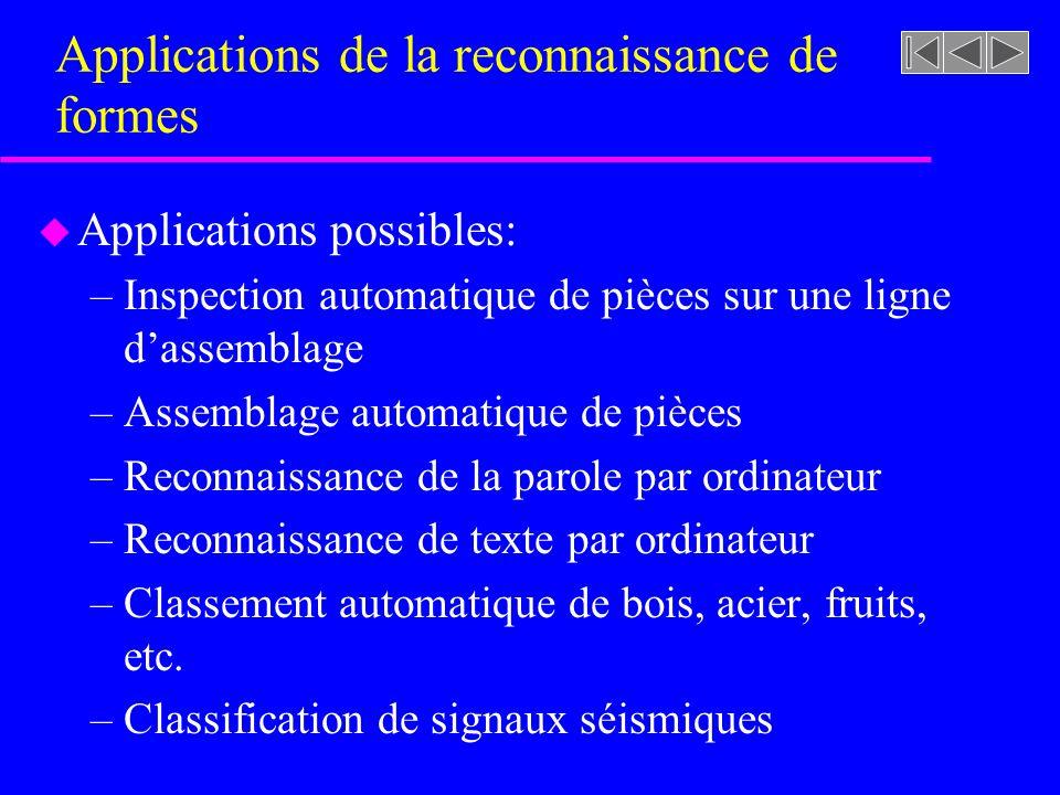 Applications de la reconnaissance de formes u Applications possibles: –Identification des personnes à partir des emprein- tes digitales, de la forme des mains, des emprein- tes rétiniennes, de la voix, etc.