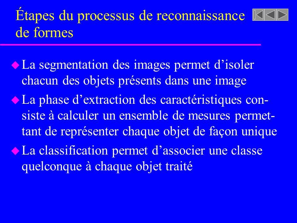 u La segmentation des images permet disoler chacun des objets présents dans une image u La phase dextraction des caractéristiques con- siste à calculer un ensemble de mesures permet- tant de représenter chaque objet de façon unique u La classification permet dassocier une classe quelconque à chaque objet traité