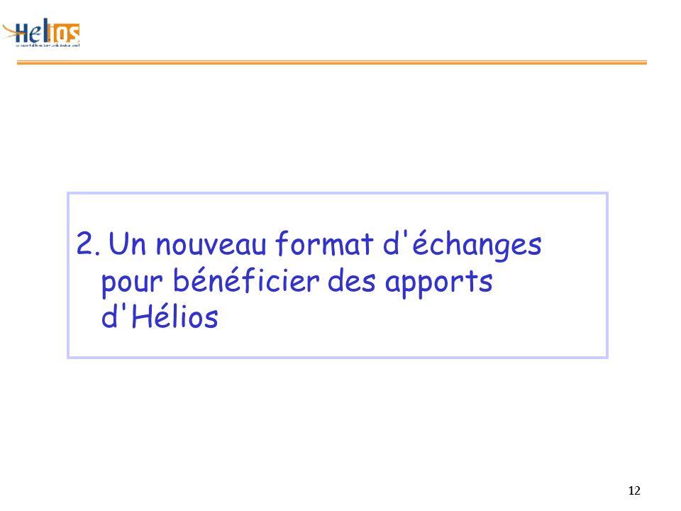 12 2. Un nouveau format d échanges pour bénéficier des apports d Hélios