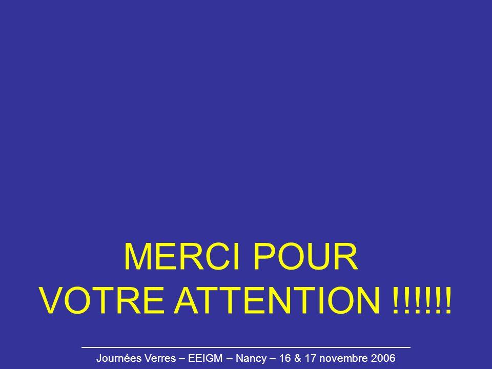 Journées Verres – EEIGM – Nancy – 16 & 17 novembre 2006 MERCI POUR VOTRE ATTENTION !!!!!!