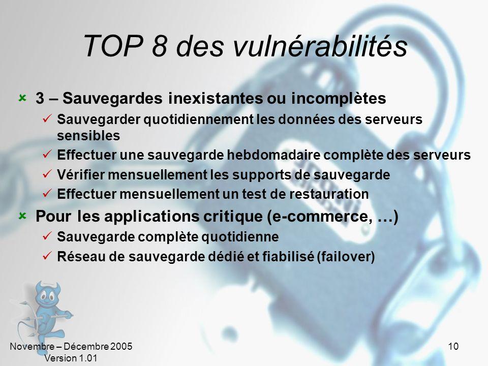 Novembre – Décembre 2005 Version 1.01 10 TOP 8 des vulnérabilités 3 – Sauvegardes inexistantes ou incomplètes Sauvegarder quotidiennement les données