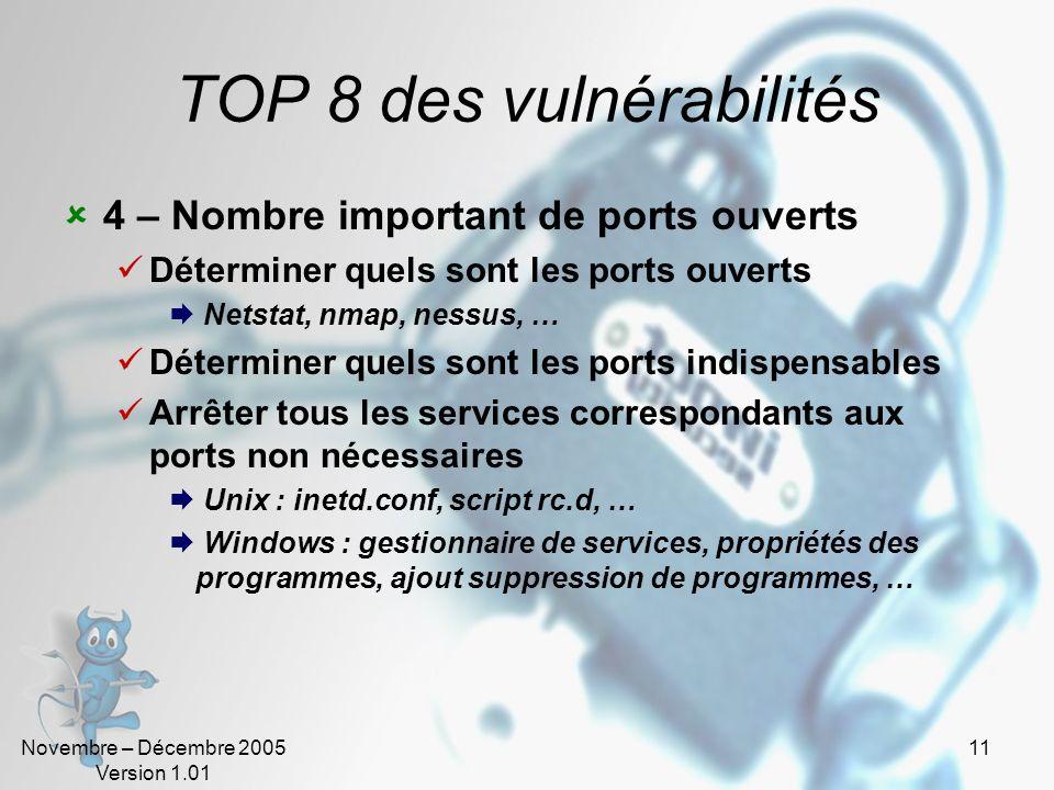 Novembre – Décembre 2005 Version 1.01 11 TOP 8 des vulnérabilités 4 – Nombre important de ports ouverts Déterminer quels sont les ports ouverts Netsta