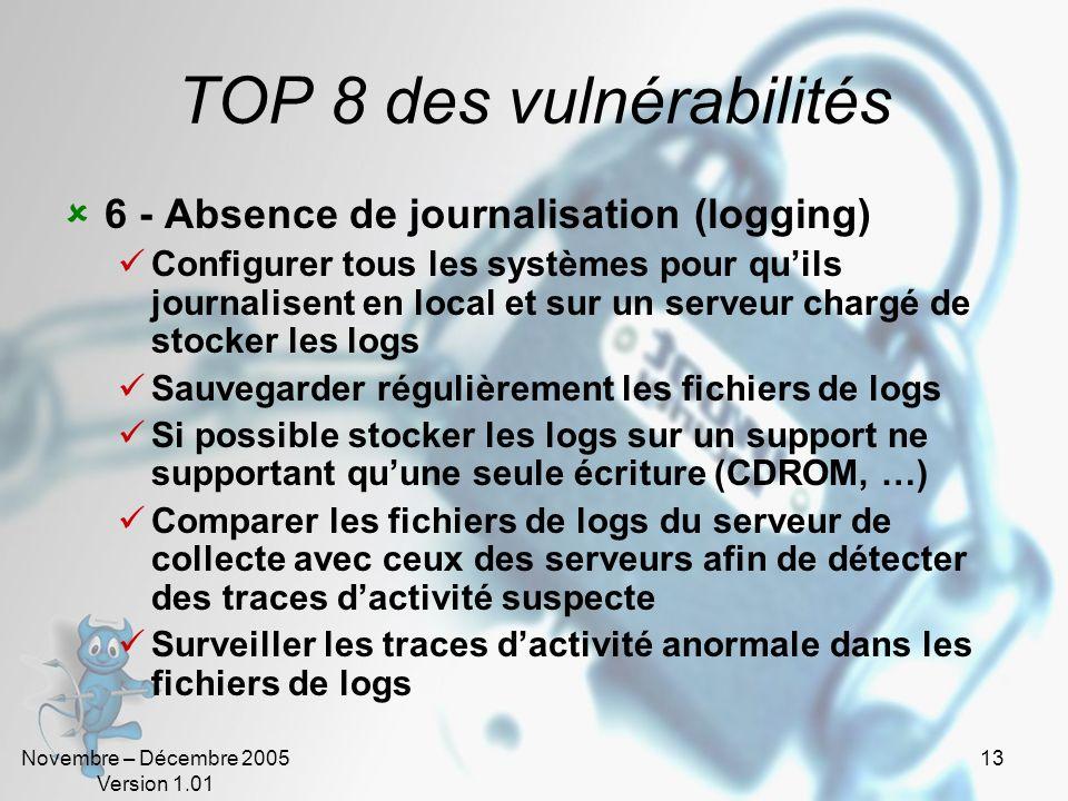 Novembre – Décembre 2005 Version 1.01 13 TOP 8 des vulnérabilités 6 - Absence de journalisation (logging) Configurer tous les systèmes pour quils jour