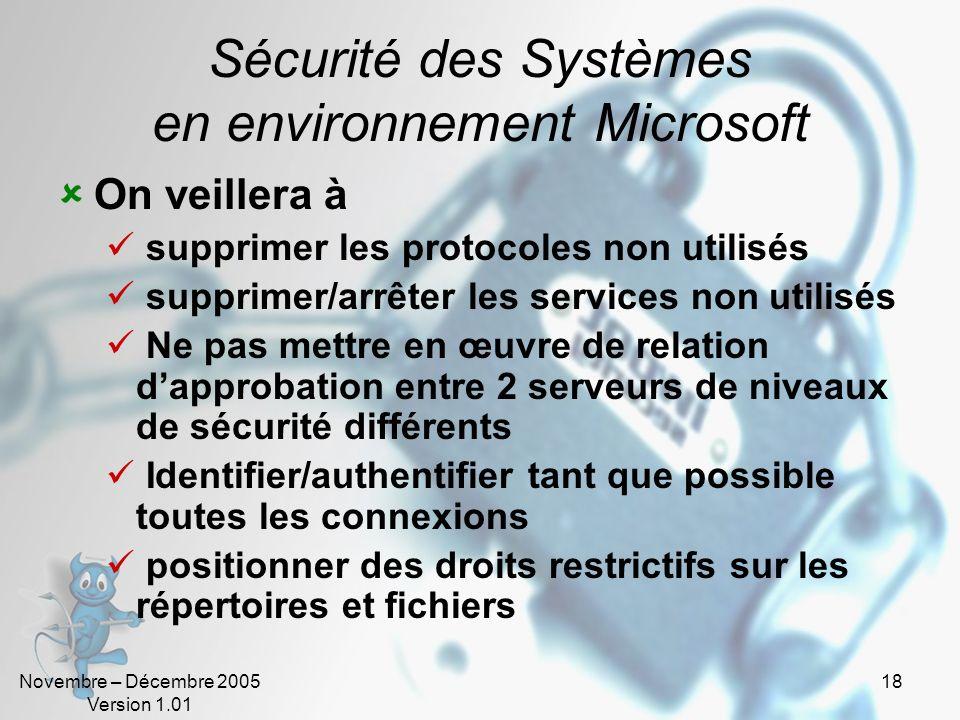 Novembre – Décembre 2005 Version 1.01 18 Sécurité des Systèmes en environnement Microsoft On veillera à supprimer les protocoles non utilisés supprime