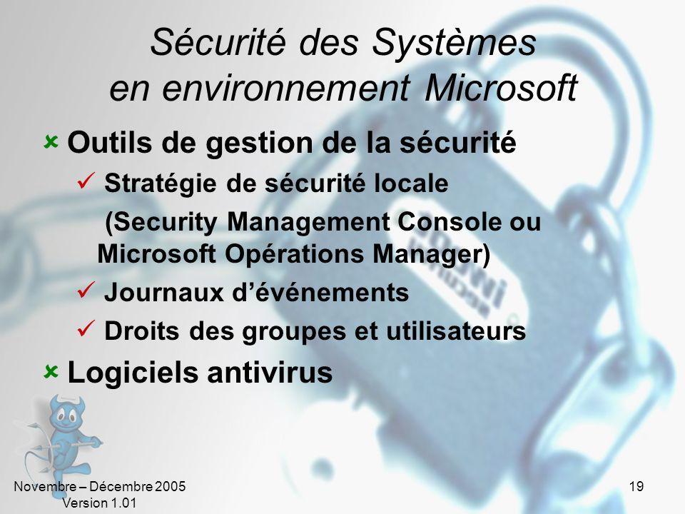 Novembre – Décembre 2005 Version 1.01 19 Sécurité des Systèmes en environnement Microsoft Outils de gestion de la sécurité Stratégie de sécurité local