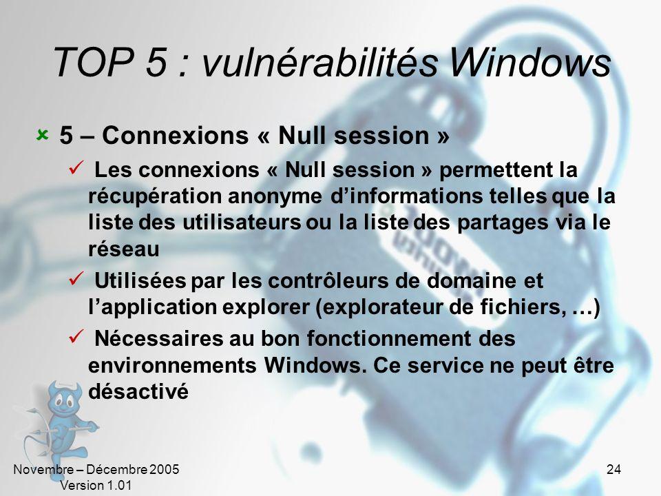 Novembre – Décembre 2005 Version 1.01 24 TOP 5 : vulnérabilités Windows 5 – Connexions « Null session » Les connexions « Null session » permettent la