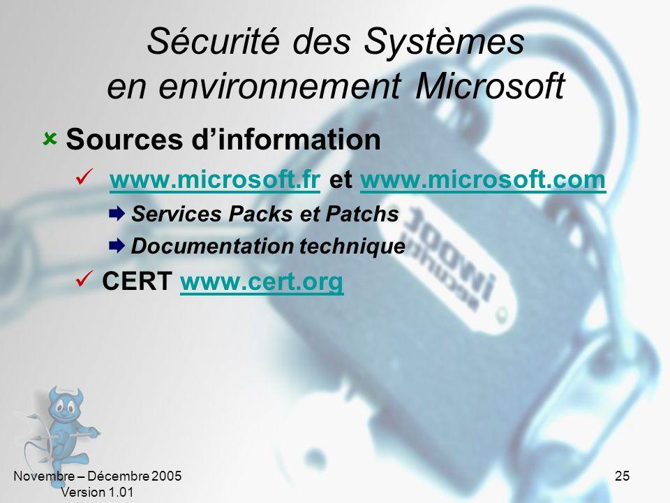 Novembre – Décembre 2005 Version 1.01 25 Sécurité des Systèmes en environnement Microsoft Sources dinformation www.microsoft.fr et www.microsoft.comww