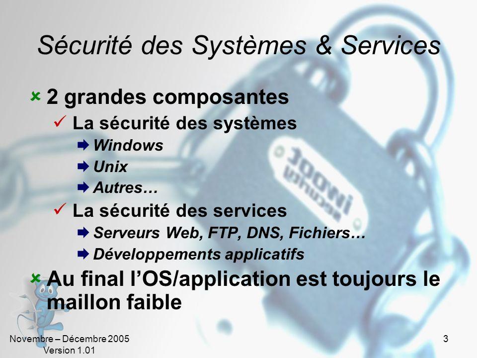 Novembre – Décembre 2005 Version 1.01 3 Sécurité des Systèmes & Services 2 grandes composantes La sécurité des systèmes Windows Unix Autres… La sécuri