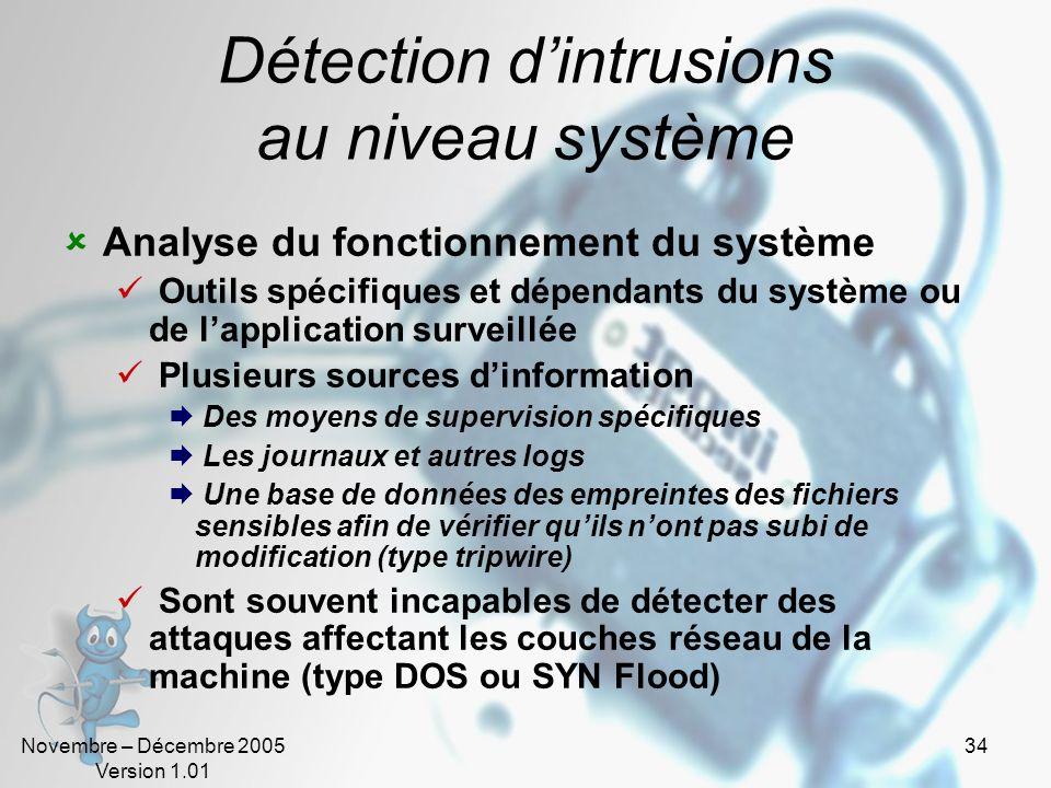Novembre – Décembre 2005 Version 1.01 34 Détection dintrusions au niveau système Analyse du fonctionnement du système Outils spécifiques et dépendants