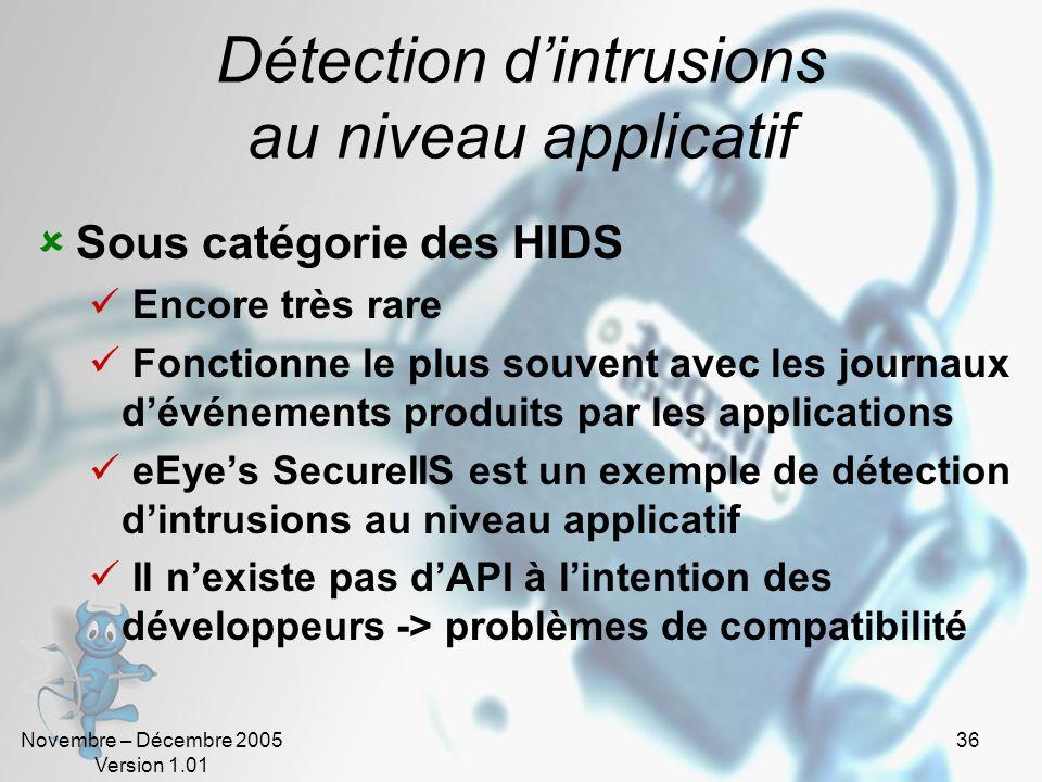 Novembre – Décembre 2005 Version 1.01 36 Détection dintrusions au niveau applicatif Sous catégorie des HIDS Encore très rare Fonctionne le plus souven