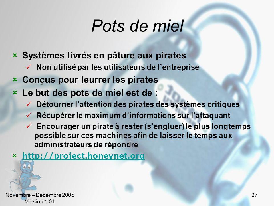 Novembre – Décembre 2005 Version 1.01 37 Pots de miel Systèmes livrés en pâture aux pirates Non utilisé par les utilisateurs de lentreprise Conçus pou