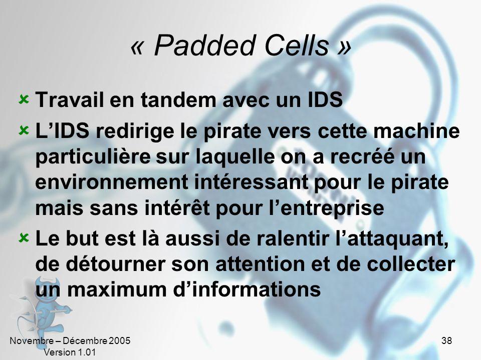 Novembre – Décembre 2005 Version 1.01 38 « Padded Cells » Travail en tandem avec un IDS LIDS redirige le pirate vers cette machine particulière sur la