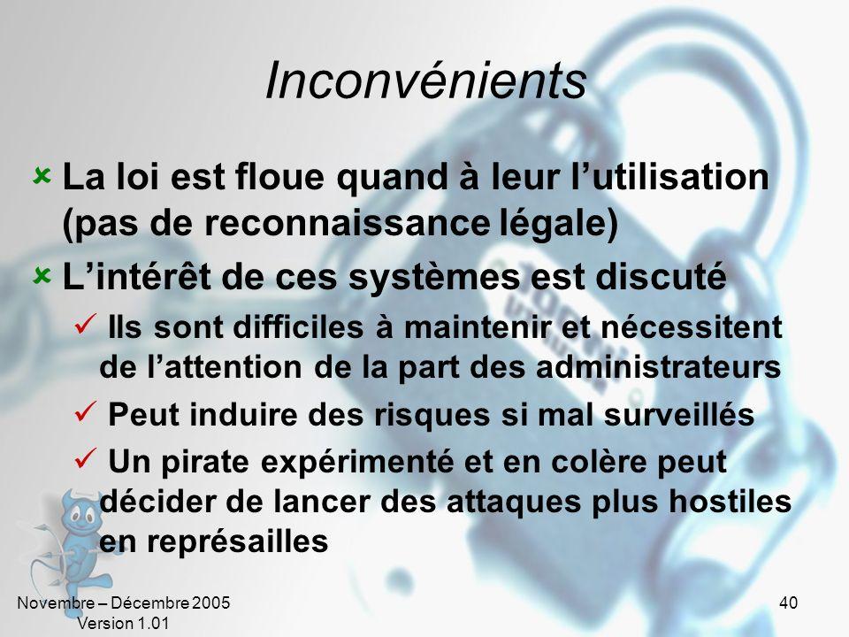 Novembre – Décembre 2005 Version 1.01 40 Inconvénients La loi est floue quand à leur lutilisation (pas de reconnaissance légale) Lintérêt de ces systè