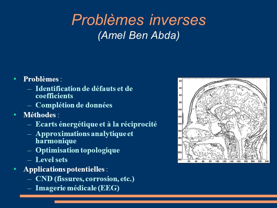 Problèmes inverses (Amel Ben Abda) Problèmes : – Identification de défauts et de coefficients – Complétion de données Méthodes : – Ecarts énergétique et à la réciprocité – Approximations analytique et harmonique – Optimisation topologique – Level sets Applications potentielles : – CND (fissures, corrosion, etc.) – Imagerie médicale (EEG)