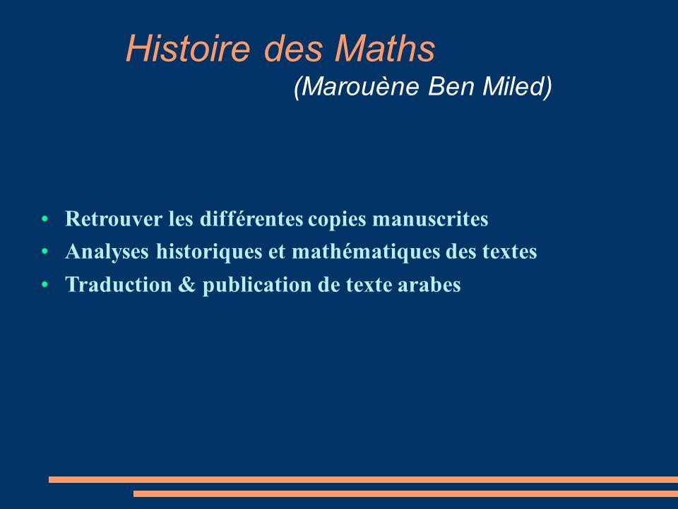 Histoire des Maths (Marouène Ben Miled) Retrouver les différentes copies manuscrites Analyses historiques et mathématiques des textes Traduction & publication de texte arabes
