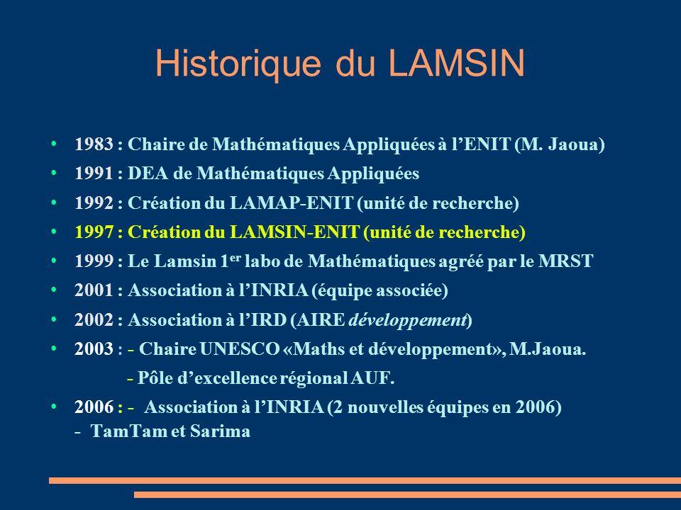 Historique du LAMSIN 1983 : Chaire de Mathématiques Appliquées à lENIT (M.