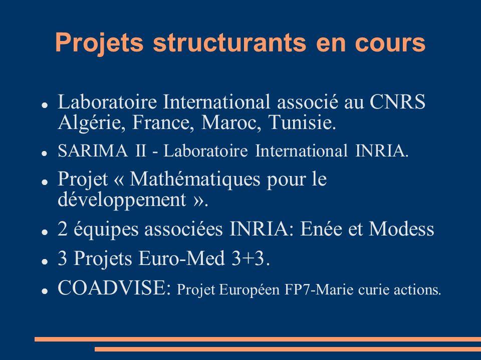 Projets structurants en cours Laboratoire International associé au CNRS Algérie, France, Maroc, Tunisie.