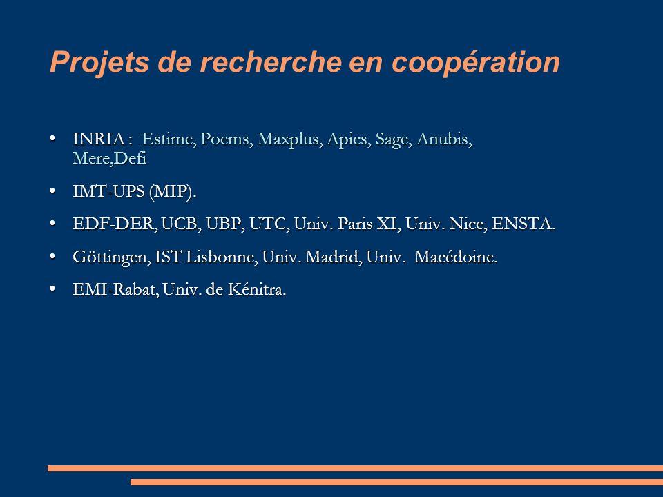 Projets de recherche en coopération INRIA : Estime, Poems, Maxplus, Apics, Sage, Anubis, Mere,DefiINRIA : Estime, Poems, Maxplus, Apics, Sage, Anubis, Mere,Defi IMT-UPS (MIP).IMT-UPS (MIP).