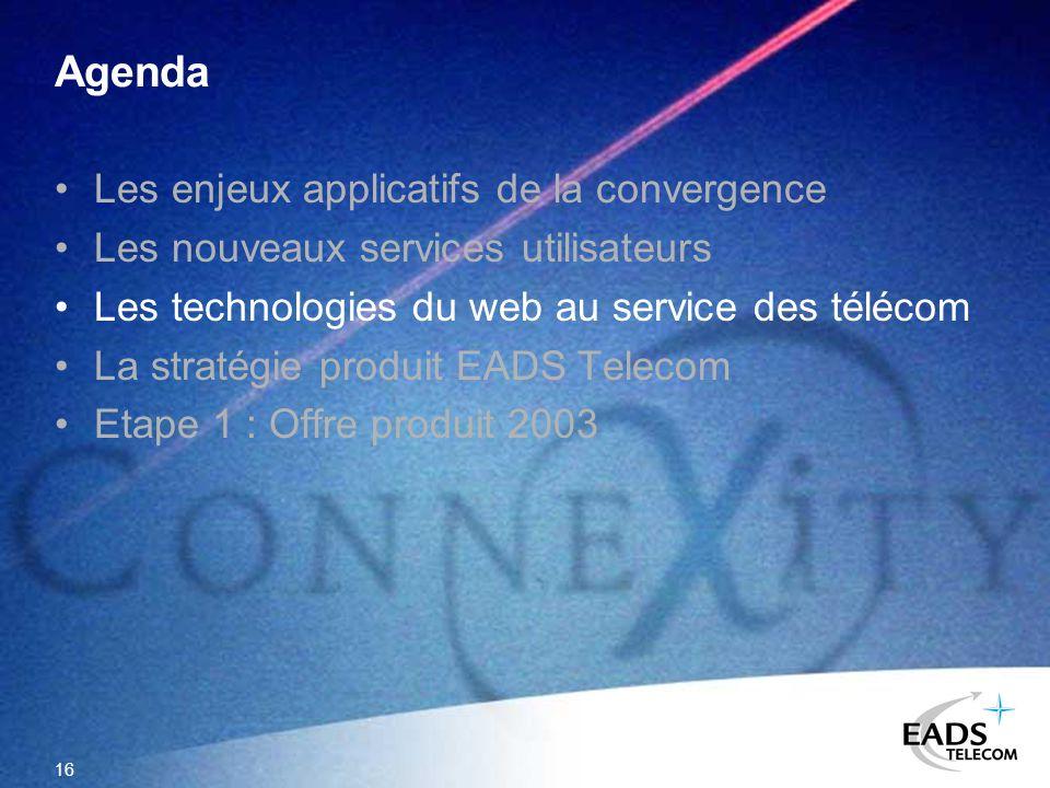 16 Agenda Les enjeux applicatifs de la convergence Les nouveaux services utilisateurs Les technologies du web au service des télécom La stratégie prod