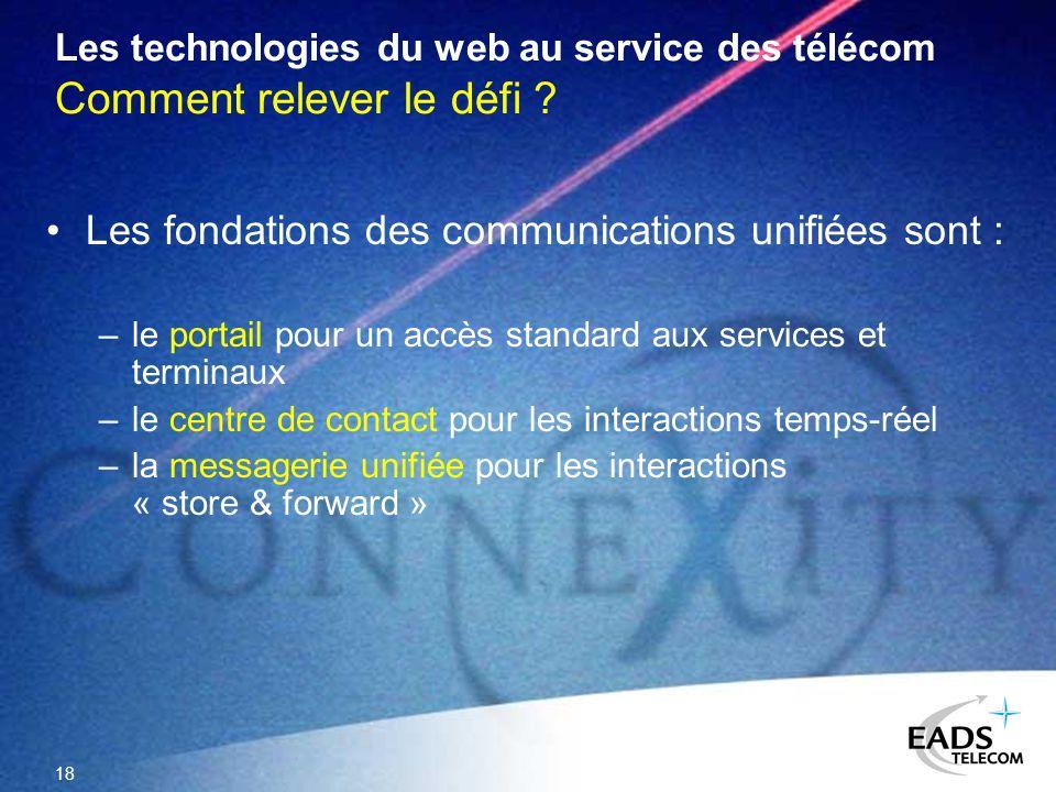 18 Les technologies du web au service des télécom Comment relever le défi ? Les fondations des communications unifiées sont : –le portail pour un accè