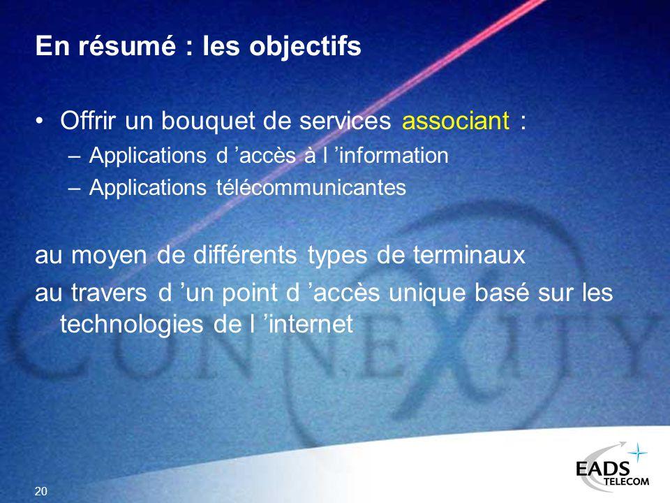 20 En résumé : les objectifs Offrir un bouquet de services associant : –Applications d accès à l information –Applications télécommunicantes au moyen