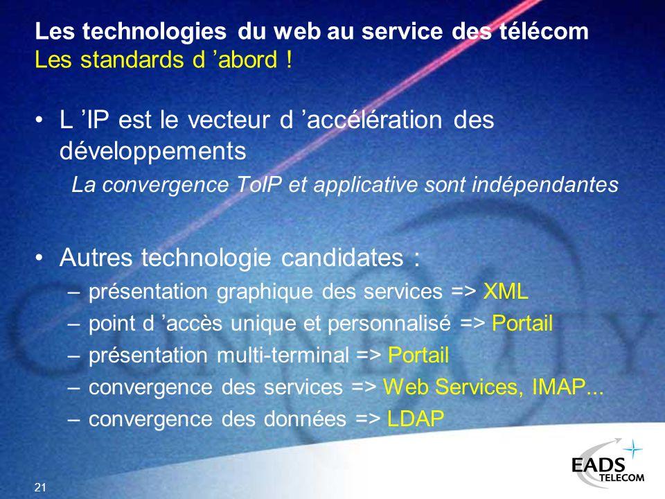 21 Les technologies du web au service des télécom Les standards d abord ! L IP est le vecteur d accélération des développements La convergence ToIP et